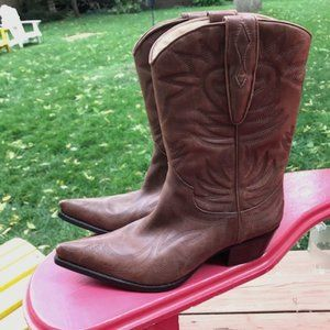 Guess Brown Leather Cowboy Boots - Size 8.5